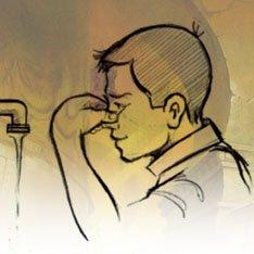 Aspirer de l'eau par les narines puis la rejeter 3 fois